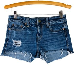 AEO blue slouchy short distressed jean shorts
